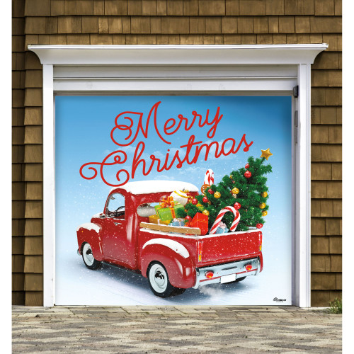 """7' x 8' Red and Green """"Merry Christmas"""" Single Car Garage Door Banner - IMAGE 1"""