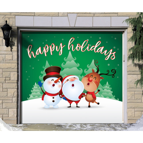"7' x 8' Green and White ""Happy Holidays"" Single Car Garage Door Banner - IMAGE 1"
