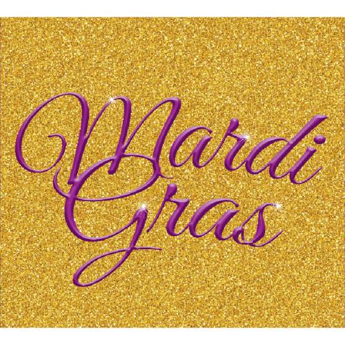 7' x 8' Purple and Gold Glitter Split Car Garage Banner Door - IMAGE 1
