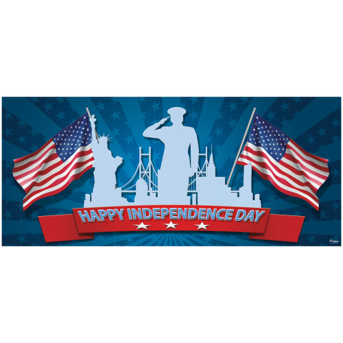 7' x 16' Red and Blue Happy Independence Day Patriotic Single Car Garage Door Banner - IMAGE 1