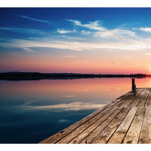 7' x 8' Blue and Brown Sunset Split Car Garage Door Banner - IMAGE 1