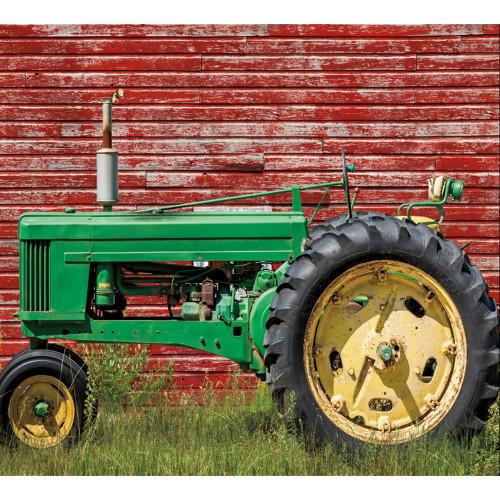 7' x 8' Red and Green Tractor Split Car Garage Door Banner - IMAGE 1