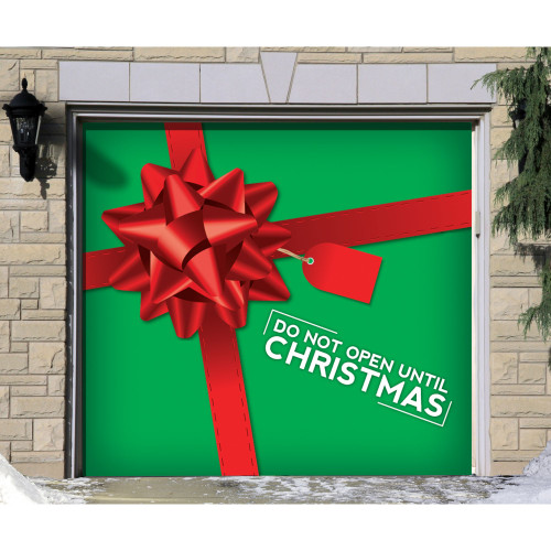 """7' x 8' Green and Red """"Do Not Open Until Christmas"""" Single Car Garage Door Banner - IMAGE 1"""