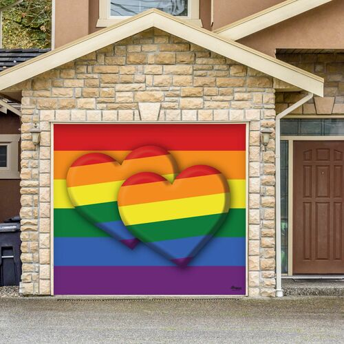 7' x 8' Red and Green LGBT Double Heart Outdoor Single Car Garage Door Banner - IMAGE 1