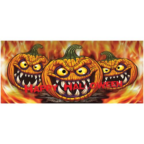 7' x 16' Red and Orange Scary Pumpkins Halloween Double Car Garage Door Banner - IMAGE 1