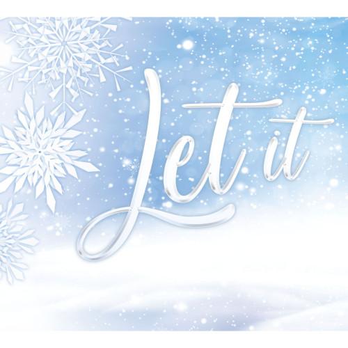 "7' x 8' White and Blue ""Let It Snow"" Split Car Garage Door Banner - IMAGE 1"