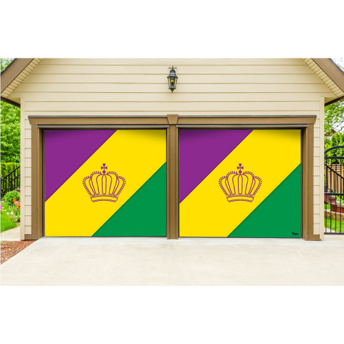 7' x 8' Yellow and Green Diagonal Striped Split Car Garage Banner Door - IMAGE 1