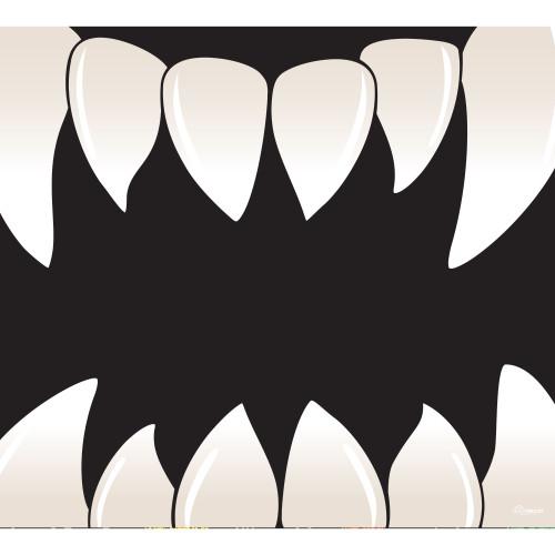 7' x 8' Black and White Scary Teeth Halloween Single Car Garage Door Banner - IMAGE 1