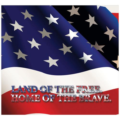 7' x 8' Red and Blue Patriotic Flag Split Car Garage Door Banner - IMAGE 1