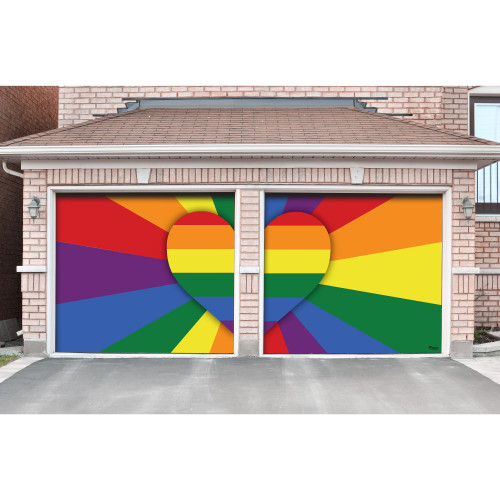 7' x 8' Red and Yellow Pride LGBT Heart Split Car Garage Door Banner - IMAGE 1