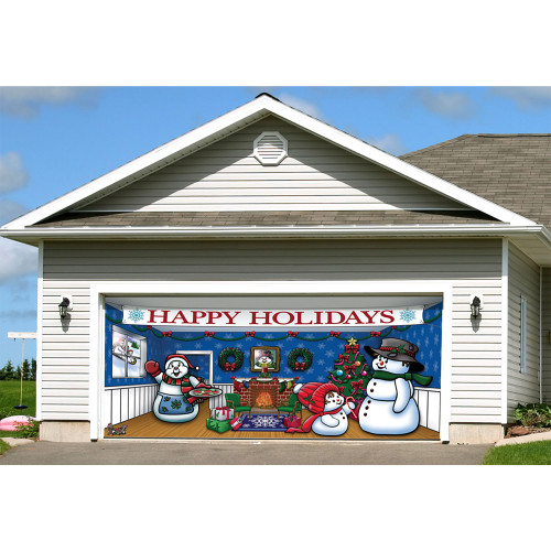 """7' x 16' Blue and White """"Happy Holidays"""" Outdoor Double Car Garage Door Banner - IMAGE 1"""