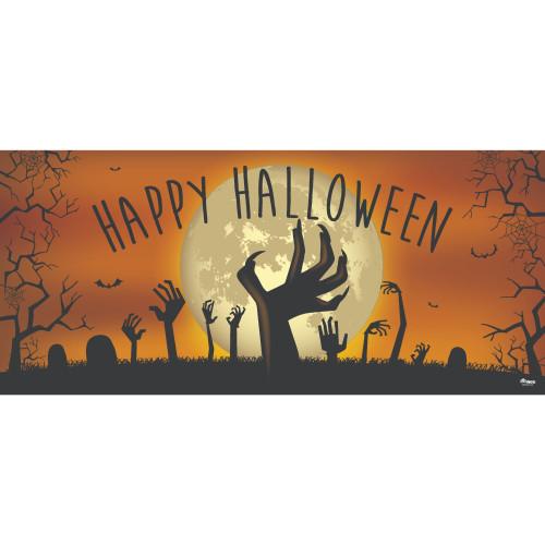 7' x 16' Orange and Black Zombie Hands Halloween Double Car Garage Door Banner - IMAGE 1