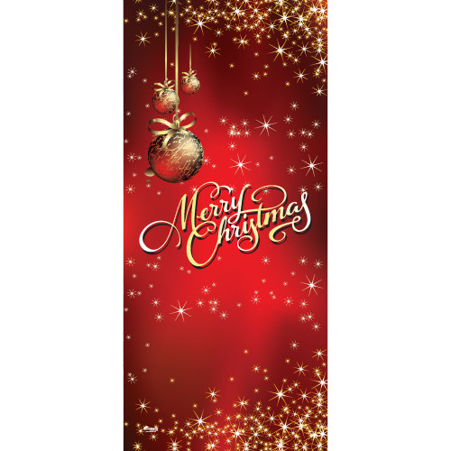 "80"" x 36"" Red and Gold Ornaments Merry Christmas Front Door Banner Mural Sign Decoration - IMAGE 1"