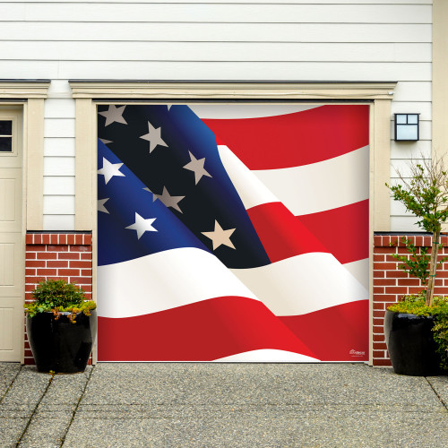 7' x 8' White and Red Patriotic Flag Single Car Garage Door Banner - IMAGE 1