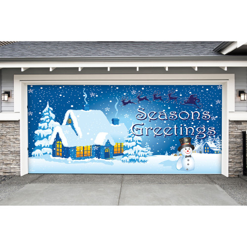 "7' x 16' Blue and White ""Seasons Greetings"" Outdoor Double Car Garage Door Banner - IMAGE 1"