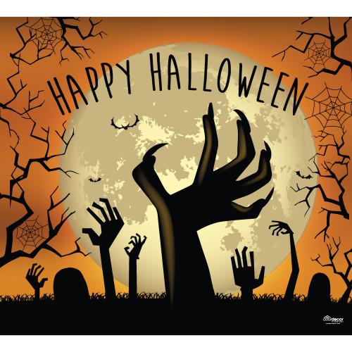 7' x 8' Orange and Black Graveyard Zombie Hands Halloween Single Car Garage Door Banner - IMAGE 1