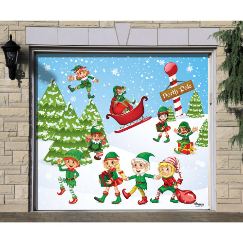 "7' x 8' Red and Green ""North Pole"" Single Car Garage Door Banner - IMAGE 1"