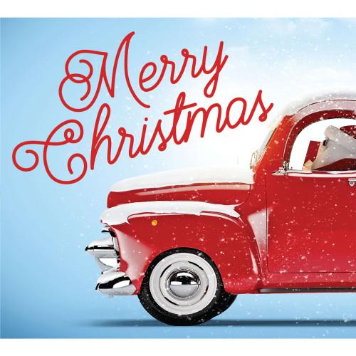 "7' x 8' Red and Green ""Merry Christmas"" Split Car Garage Door Banner - IMAGE 1"