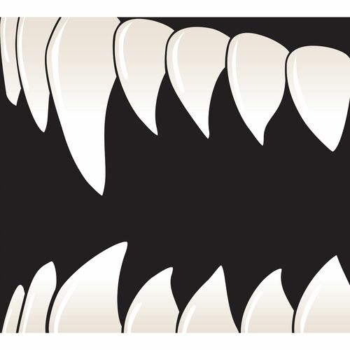 7' x 8' Black and White Scary Teeth Halloween Split Car Garage Door Banner - IMAGE 1