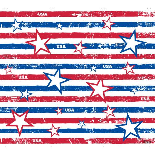 7' x 8' Blue Stars and Stripes Patriotic Single Car Garage Door Banner - IMAGE 1
