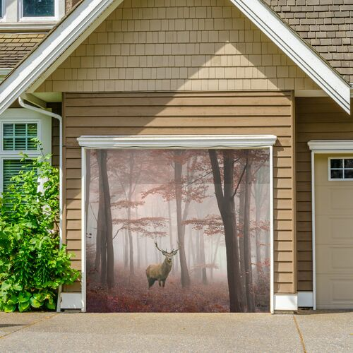 7' x 8' Brown and Ivory Deer Single Car Garage Door Banner - IMAGE 1
