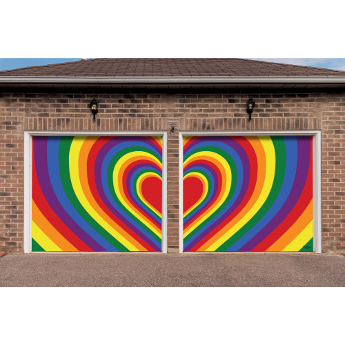 7' x 8' Red and Yellow LGBT Radiating Heart Split Car Garage Door Banner - IMAGE 1