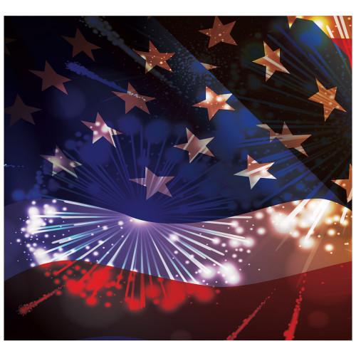 7' x 8' Blue and Red Patriotic Split Car Garage Door Banner - IMAGE 1