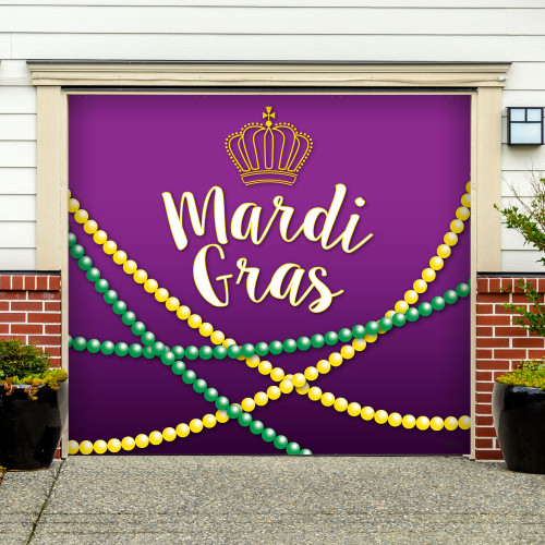 7' x 8' White and Purple Mural Beads Single Car Garage Banner - IMAGE 1