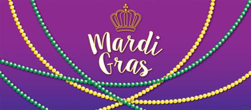 7' x 16' Purple and Green Beaded Mardi Gras Double Car Garage Door Banner - IMAGE 1