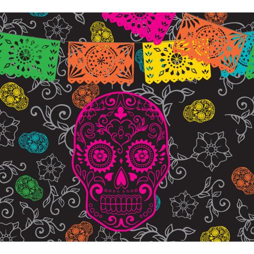 7' x 8' Black and Orange Skull Halloween Split Car Garage Door Banner - IMAGE 1