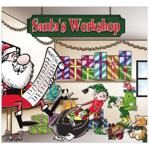 7' x 8' Red and Green Santa's Workshop Outdoor Split Car Garage Door Banner - IMAGE 1