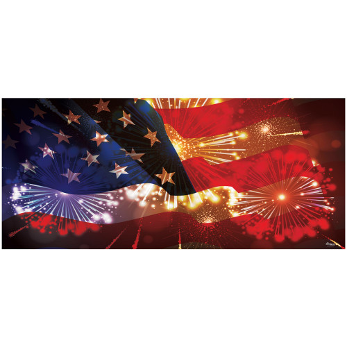7' x 16' Red and Blue Outdoor American Flag with Fireworks Double Car Garage Door Banner - IMAGE 1