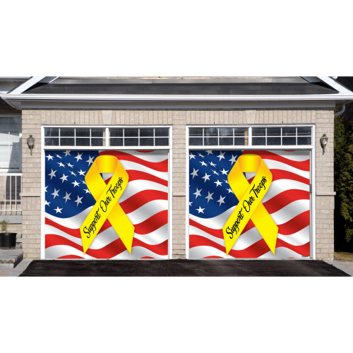 "7' x 8' Blue and Red Split Car Garage Door Banner Reads ""Support Our Troops"" - IMAGE 1"