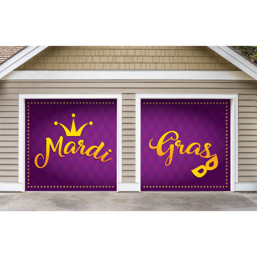 7' x 8' Gold and Purple Mural Crown Split Car Garage Banner Door - IMAGE 1