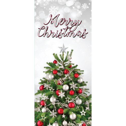 "80"" x 36"" Red and Green Merry Christmas Tree Front Door Banner Mural Sign Decoration - IMAGE 1"
