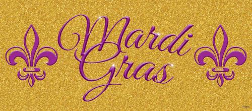 """7' x 16' Gold and Purple """"Mardi Gras"""" Double Car Garage Door Banner - IMAGE 1"""