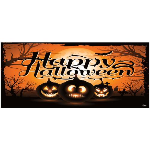 7' x 16' Black and Orange Jack-O'-Lantern Halloween Double Car Garage Door Banner - IMAGE 1