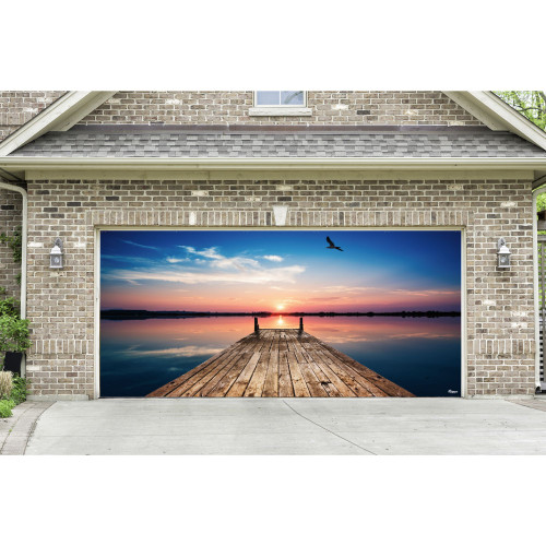7' x 16' Blue and Brown Nature Double Car Garage Door Banner - IMAGE 1