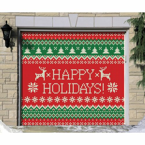 "7' x 8' Green and Red ""Happy Holidays"" Single Car Garage Door Banner - IMAGE 1"