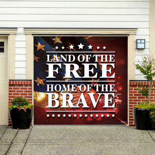 7' x 8' Red and Gold Flag Single Car Garage Door Banner - IMAGE 1
