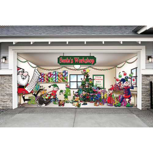 "7' x 16' Red and Green ""Santa's Workshop"" Outdoor Double Car Garage Door Banner - IMAGE 1"