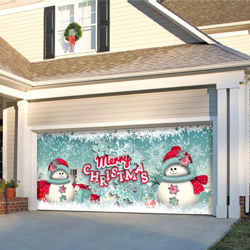 """7' x 16' Red and White """"Merry Christmas"""" Outdoor Double Car Garage Door Banner - IMAGE 1"""