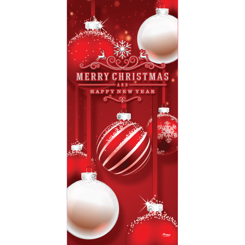 "80"" x 36"" Red and White Ornaments Christmas Front Door Banner Mural Sign Decoration - IMAGE 1"