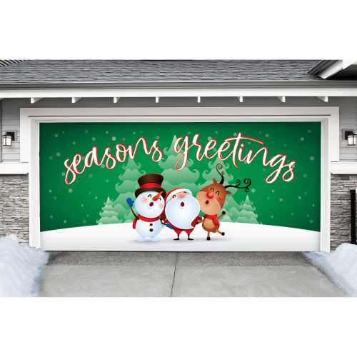 """7' x 16' Green and White """"Seasons Greetings"""" Double Car Garage Door Banner - IMAGE 1"""