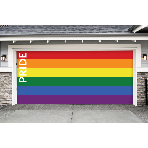 7' x 16' Red and Blue LGBT Pride Texted Double Car Garage Door Banner - IMAGE 1