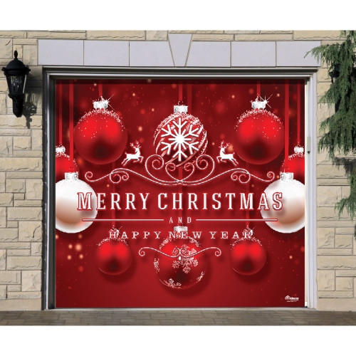 """7' x 8' Red and White """"Merry Christmas and Happy New Year"""" Single Car Garage Door Banner - IMAGE 1"""