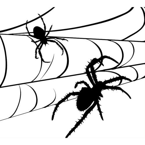7' x 8' Black and White Spiders Halloween Split Car Garage Door Banner - IMAGE 1