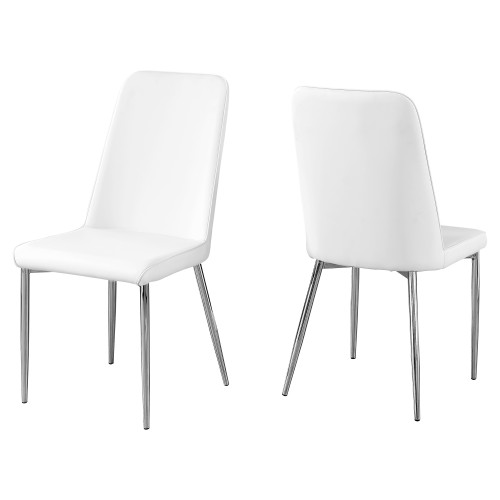 """Set of 2 White and Silver Contemporary Upholstered Dining Chairs 37"""" - IMAGE 1"""