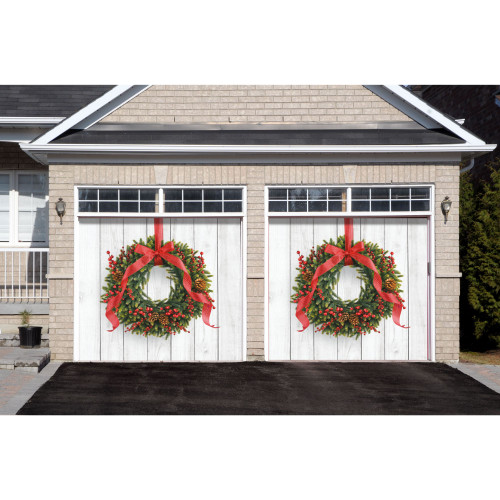 7' x 8' Green and Red Christmas Wreath Split Car Garage Door Banner - IMAGE 1
