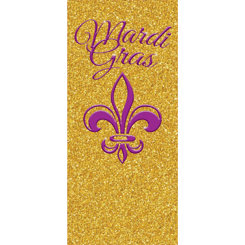 """80"""" x 36"""" Gold and Pink Outdoor Glittered Mardi Gras Front Door Banner - IMAGE 1"""